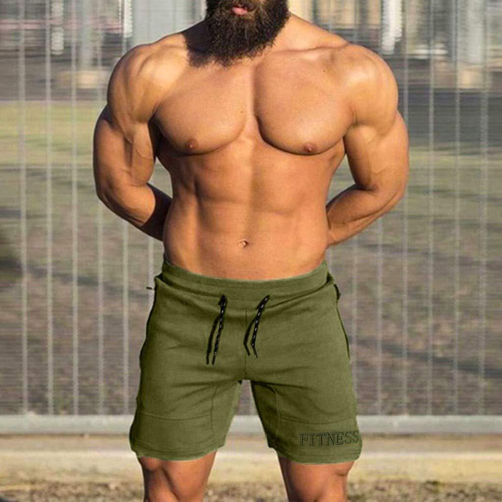 MILL.GD88 Hombres Casual Deportes Jogging Fitness El/ástico Bordado Shorts Pantalones Pantalones Negro, L2