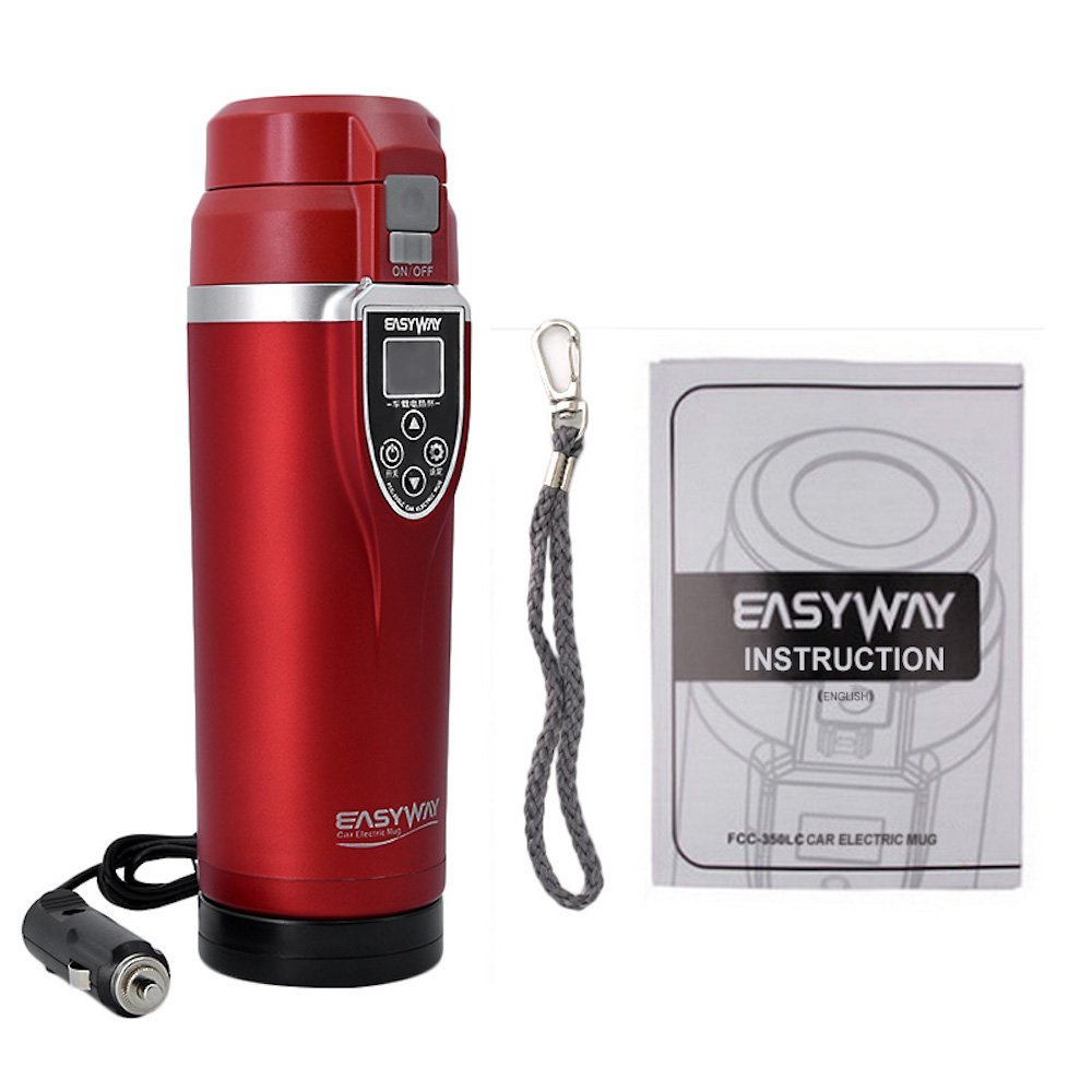 350ML Car Cup 12v Heating Stainless Mug Travel Steel Coffee Heated Tea Auto Electric Kettle Thermos Portable Pot Water