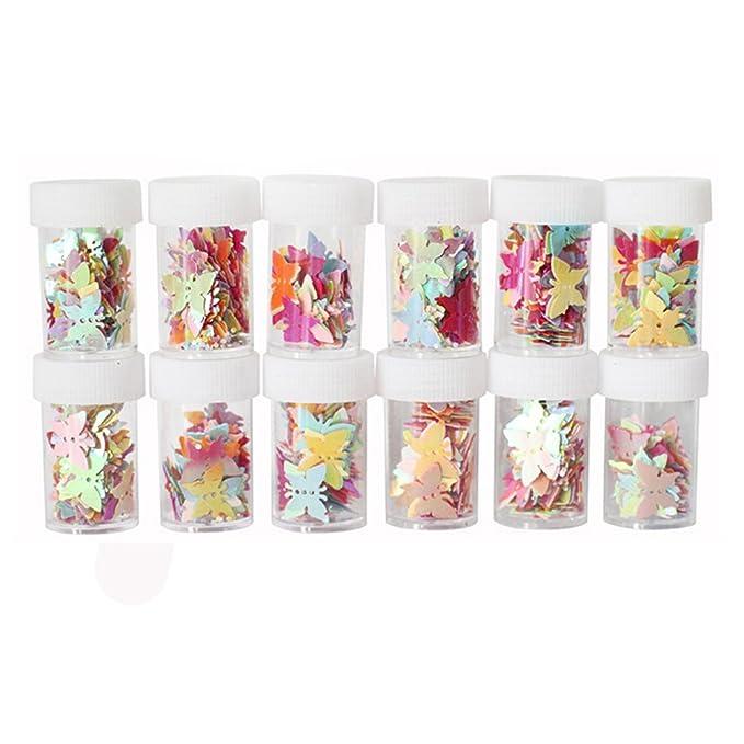 Purpurina Confeti rosenice Craft Lentejuelas para DIY uñas arte decoración de boda fiesta casa 12 Packs (mariposa): Amazon.es: Juguetes y juegos