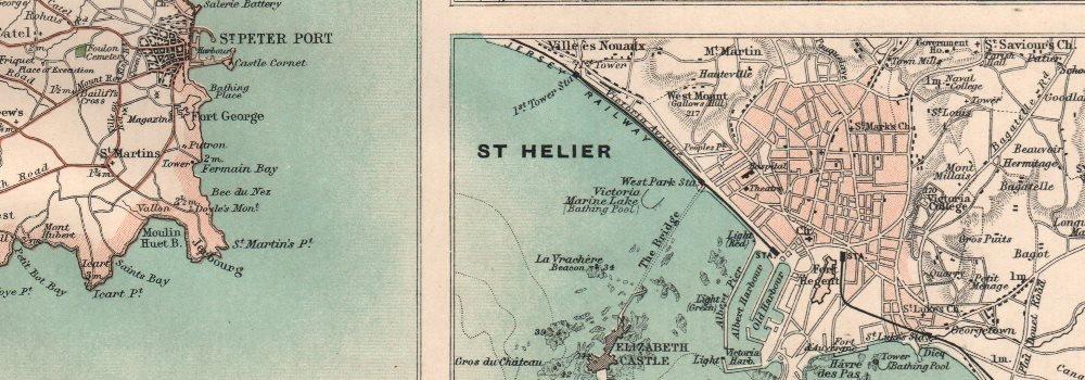 CHANNEL ISLANDS. Jersey Alderney Guernsey St. Peter Port St. Helier - 1898 - old antique vintage map - printed maps of Channel Islands Antiqua Print Gallery