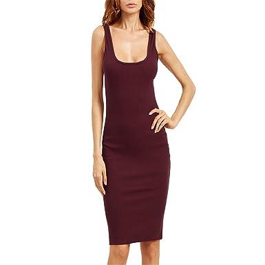 da3e589649e Aworth Black Basic Ribbed Summer Dress Plus Size Double Scoop Women Brief  Tank Dresses Sleeveless Sexy Sheath Midi Dress Burgundy XXL  Amazon.co.uk   ...