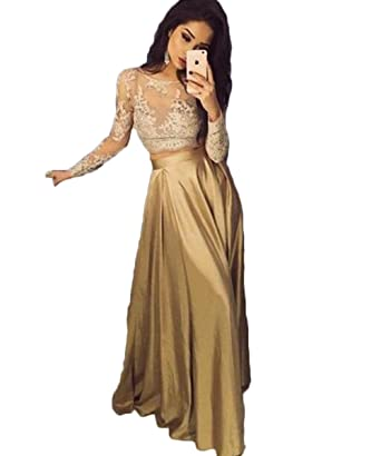 Amazon Pinkmemory 2 Pieces Gold Prom Dress Long Lace Long