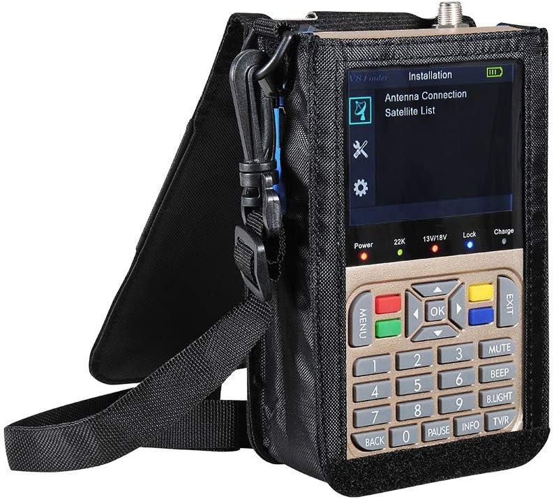 Medidor de señal de buscador de satélite profesional, antena de TV portátil Medidor de buscador de señal de alta definición DVB-S2 / S2X Receptor ...