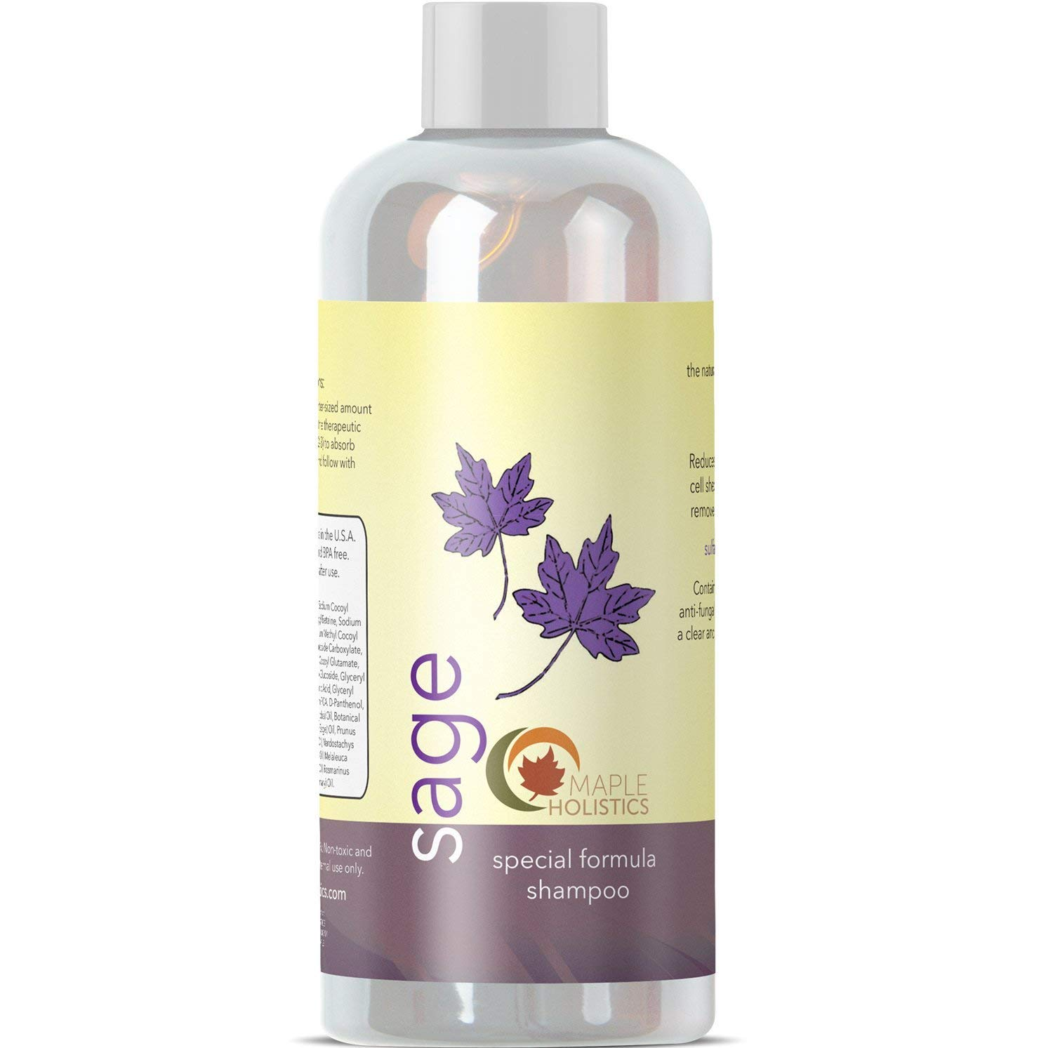 Natural Sage Shampoo for Dandruff and Dry Scalp Sulfate Free Anti Dandruff Itchy Flaky Scalp Antifungal Tea Tree Oil Rosemary Jojoba and Argan Oil for Thicker Hair Growth for Women and Men by Maple Holistics