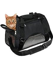 EVELTEK Soft Side Pet Carrier Travel Bag Small Dogs, Medium Sized Cats Rabbits, Comes Shoulder Strap, Safety Buckle Zippers, Newly Designed (M, Black)
