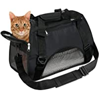 EVELTEK Soft Side Pet Carrier Travel Bag Small Medium Dog, Cat Rabbit Carriers up to 18lbs Shoulder Strap, Safety Buckle Zippers, Newly Designed (L, Black)