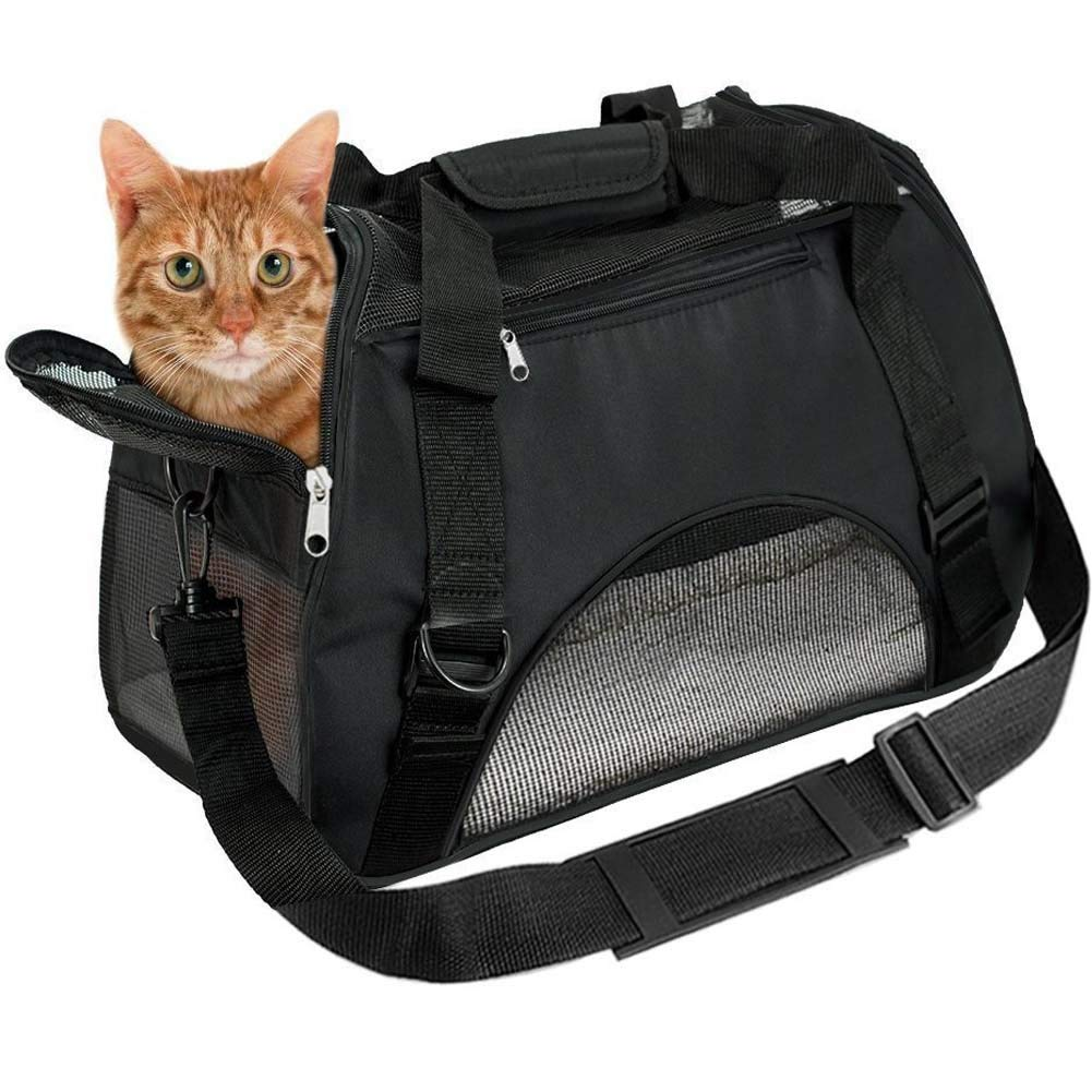EVELTEK Soft Side Pet Carrier Travel Bag Small Medium Dog, Cat Rabbit  Carriers up to 18lbs Shoulder Strap, Safety Buckle Zippers, Newly Designed  (L, Black) 42d3832c4e33