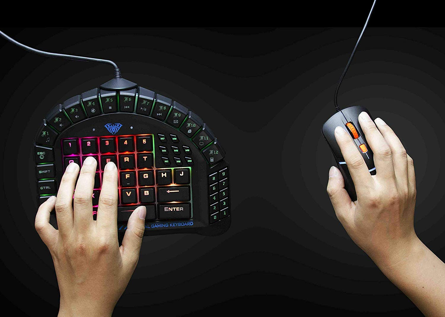Amazon.com: AULA One Handed Gaming Keyboard, RGB LED Backlist Mechanical Keyboard with Removable Hand Rest for PC Gamer & Typing: Electronics