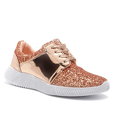 new styles d31b2 3c9d3 Herstyle Women's Magor Kick Fashion Glitter Metallic Sneaker with Front  Lace Upper