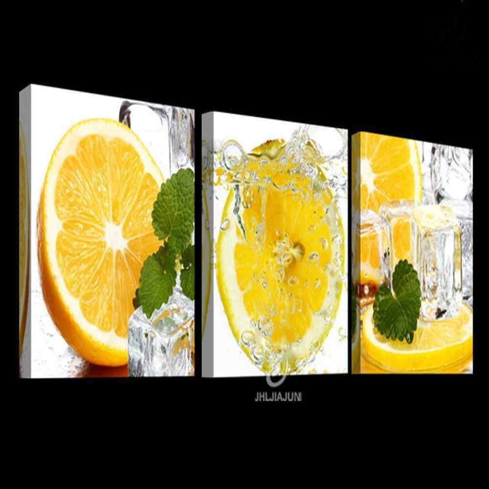 Pintura sobre lienzo Frutas verdes Limón Cuadros modulares Pinturas para la cocina Pinturas sobre lienzo Cartel Flores Paneles de pared para la sala de estar Sin marco