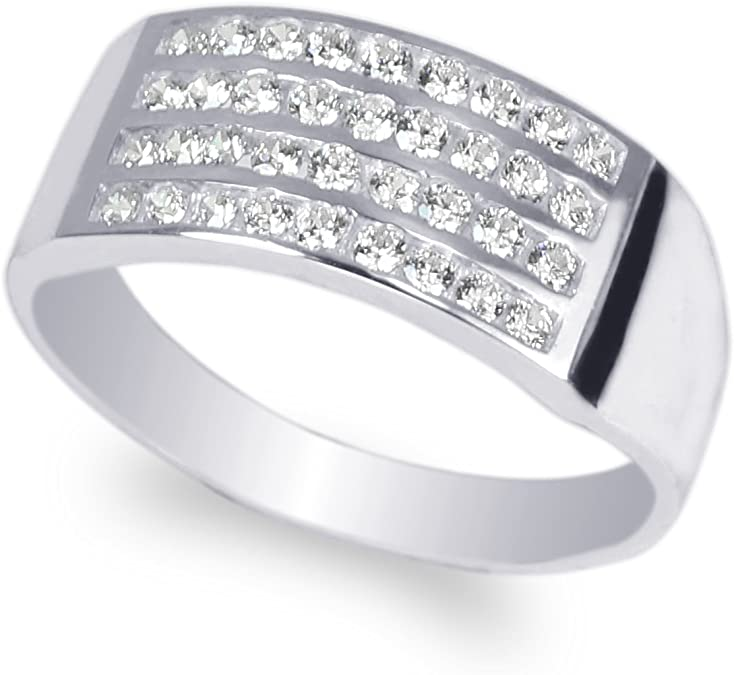 JamesJenny Mens 10K White Gold Square CZ Channel Band Ring Size 7-12