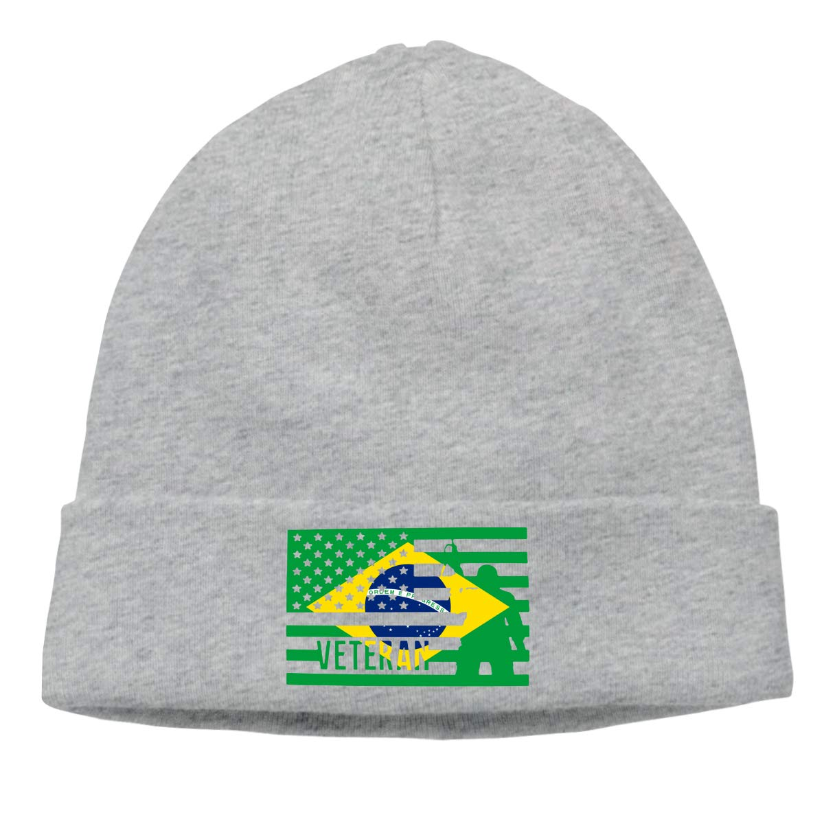 Stretchy /& Soft Winter Cap Veteran American Brazil Flag Unisex Solid Color Beanie Hat Thin