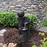 "35"" Floating Sphere Waterslide Fountain - Indoor/Outdoor Water Feature Great for Patios and Gardens"