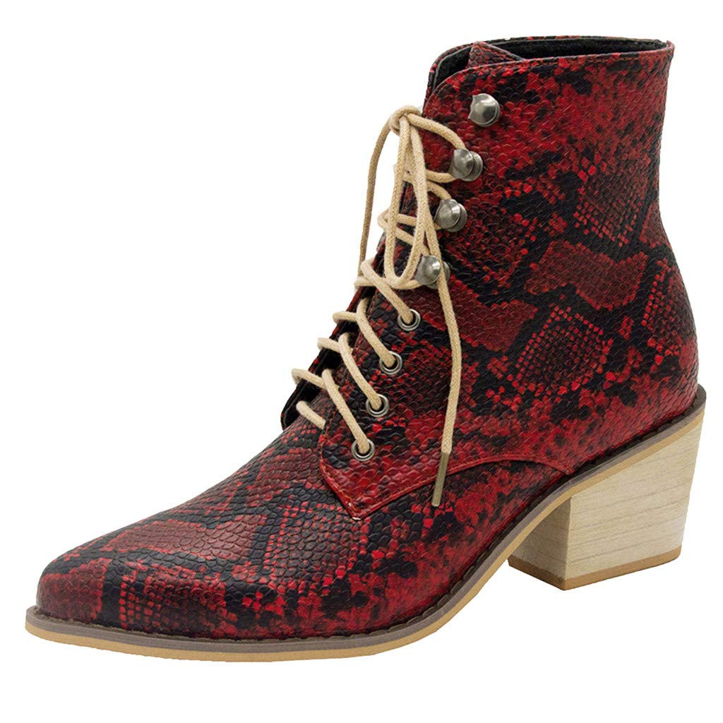 Women's Simple Dressy Ankle Booties - Square Heel Serpentine Lace-Up Mid Heels Comfy Booties (US:7.5, Red)