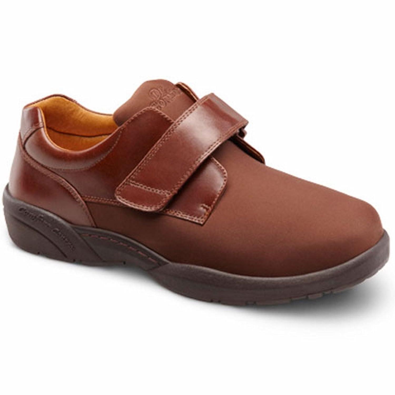Dr. Comfort Brian-X Men's Therapeutic Diabetic Extra Depth Shoe leather/lycra velcro 6.0 Wide (W/4E) US Men|Acorn
