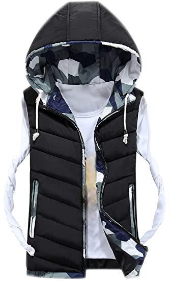 a598e008e Mens Hooded Gilet Sleeveless Body Warmers Padded Down Vest with Zipper Hood  Men Printed Jacket Coat Gilets with Pockets Stand Collar Quilted ...