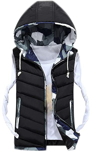 Mens Hooded Gilet Sleeveless Body Warmers Padded Down Vest with Zipper Hood Men Printed Jacket Coat Gilets with Pockets Stand Collar Quilted Bodywarmer Top Autumn Winter