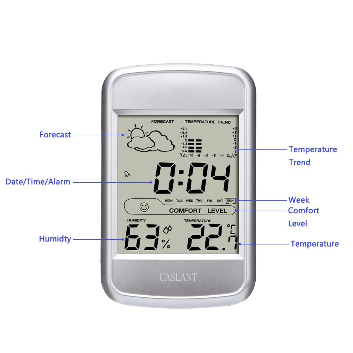 Monitor de humedad interior,higrómetro digital Monitor de termómetro, Completa estación meteorológica con pantalla LCD, hora, fecha, alarma, ...
