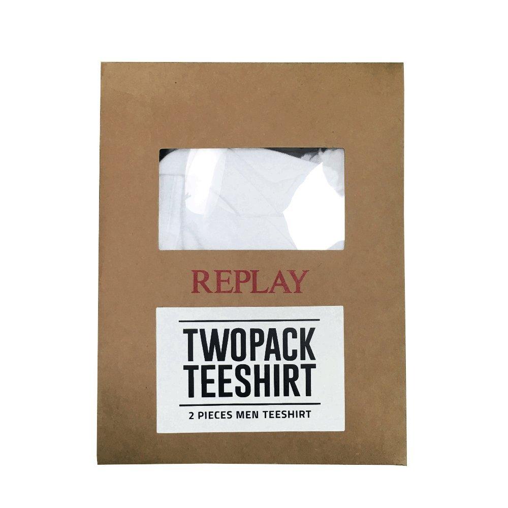 dee69c18 Replay 2 Pack Plain White V-Neck T-Shirts M3589: Amazon.co.uk: Clothing