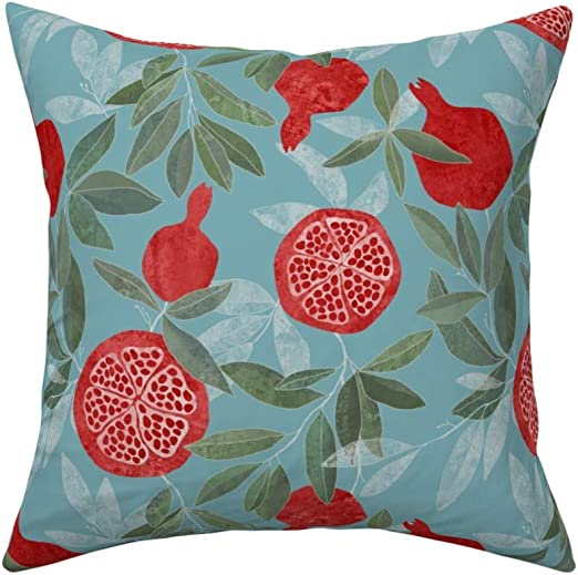 Amazon Com Roostery Throw Pillow Summer Pomegranate Decor Pomegranates Sky Blue Red Fruit Nature Botanical Floral Print Linen Cotton Canvas Knife Edge Accent Pillow 18in X 18in Optional Insert Home Kitchen