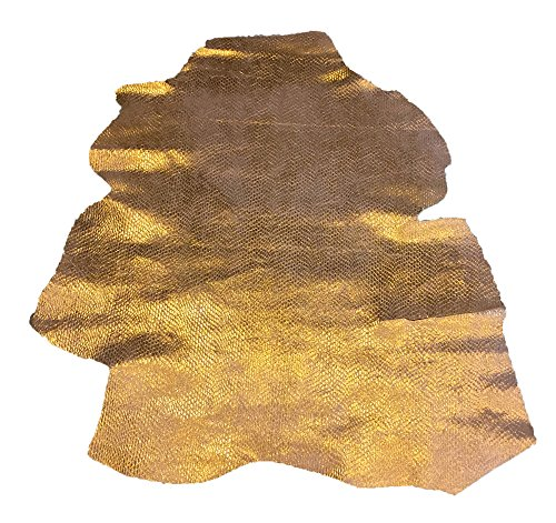 Embossed Metallic Leather (Metallic Gold Leather – Reptile Embossed Hide - Spanish Full Skins - 3 sq ft - 2 oz. avg Thickness – Genuine Real Lambskin Fabric – Upholstery Home Décor Material- Craft Projects – DIY Supply)