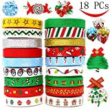 Arts & Crafts : 18 Packs Ribbons; 90 Yard Grosgrain Satin Fabric Ribbons for Christmas Holiday Gift Box Wrapping, Hair Bow Clips, Gift Bows, Craft, Sewing, Wedding, Baby Shower and Wine Decoration by Joiedomi.