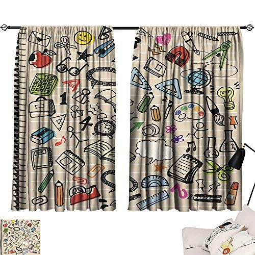 """Turquoise Curtains Hand-Painted Illustrations of stationery3 72""""x108"""",for Bedroom Embroidery Curtain for Living Room"""