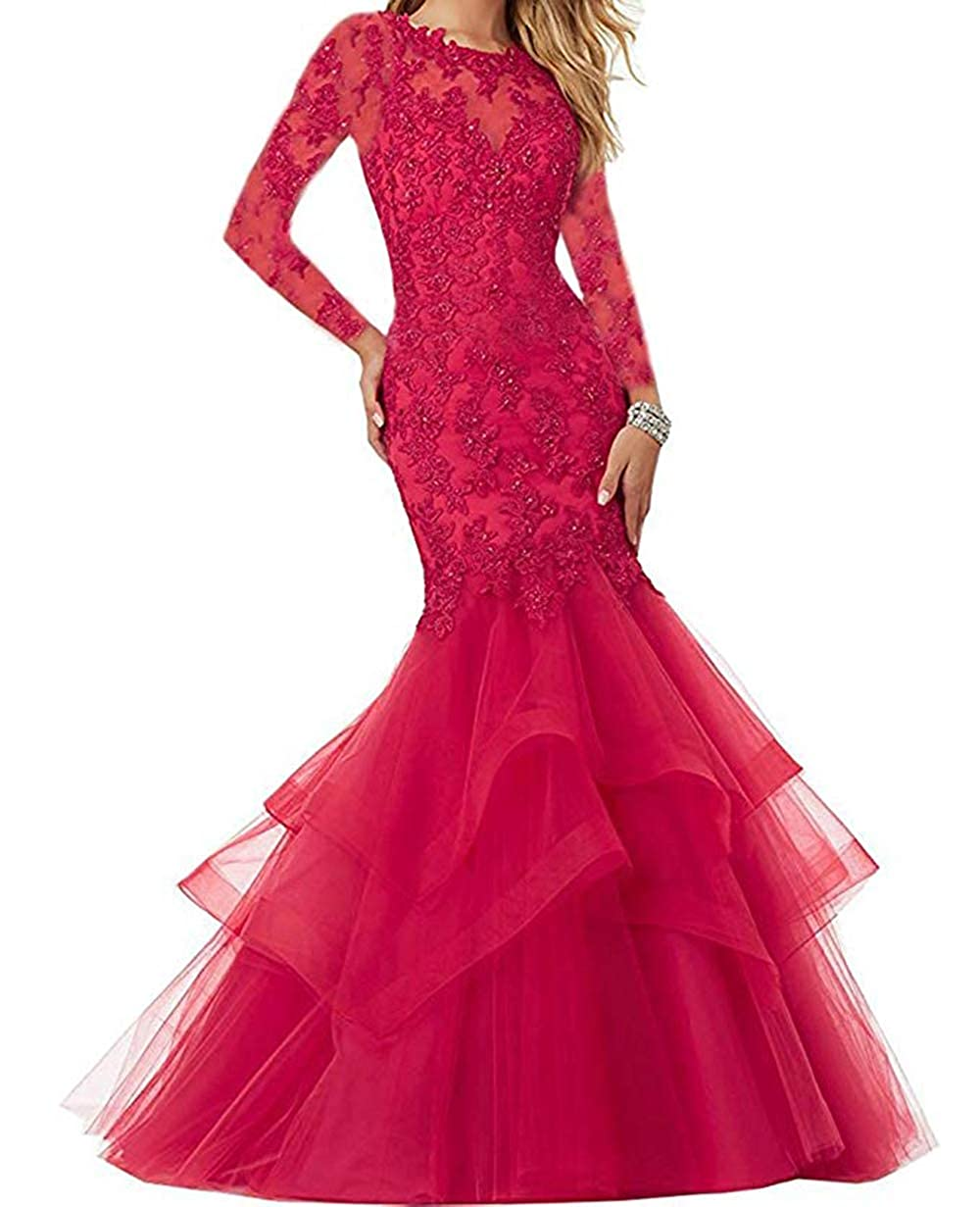 Hot Pink Women's Mermaid Prom Dresses Beaded Lace Appliques Formal Evening Gowns Long Sleeves