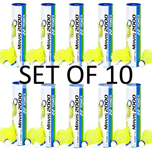 Yonex Mavis 2000 Nylon Yellow Badminton Shuttlecock (10 tubes pkg) by Yonex