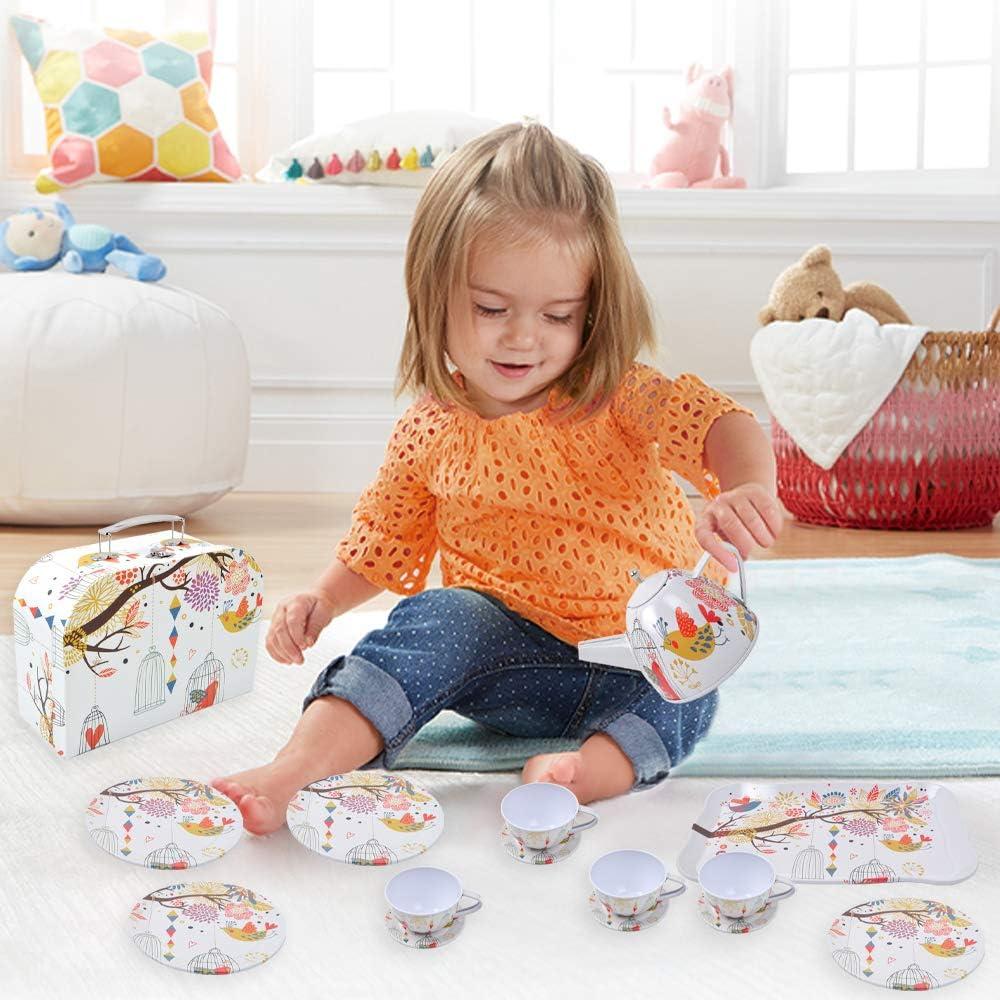 24 Pi/èces Dinette pour Enfants et Son Coffret Dinette Enfant Jouet de Dessert /Étain Services /à th/é Jeux dimitation Cadeau pour Enfants Filles Services /à th/é Enfant