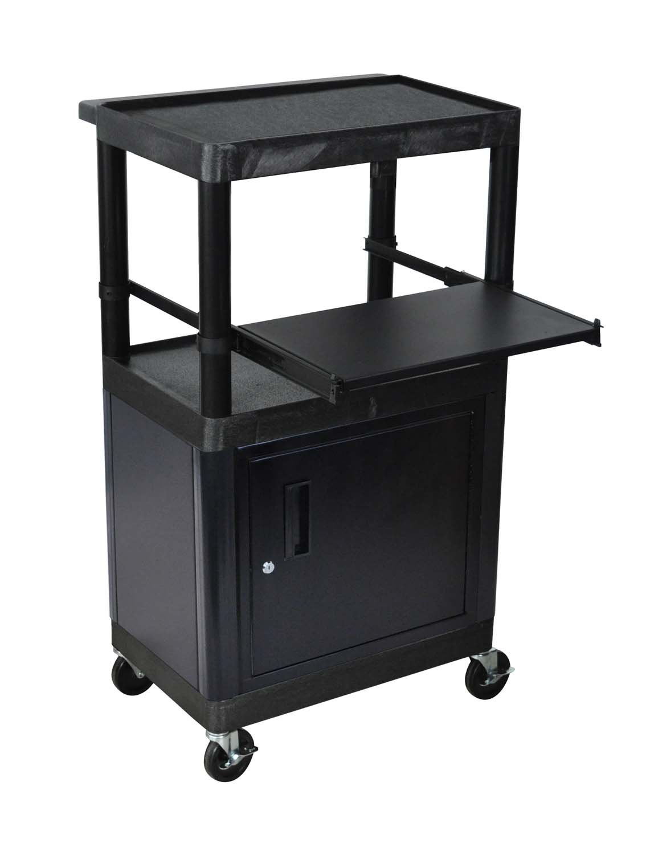 LUXOR LT45C-B Endura 3-Shelf Presentation Cart with Cabinet, Black