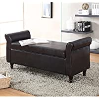 Milton Greens Stars Kassel Bonded Leather Indoor Storage Bench with Armrests
