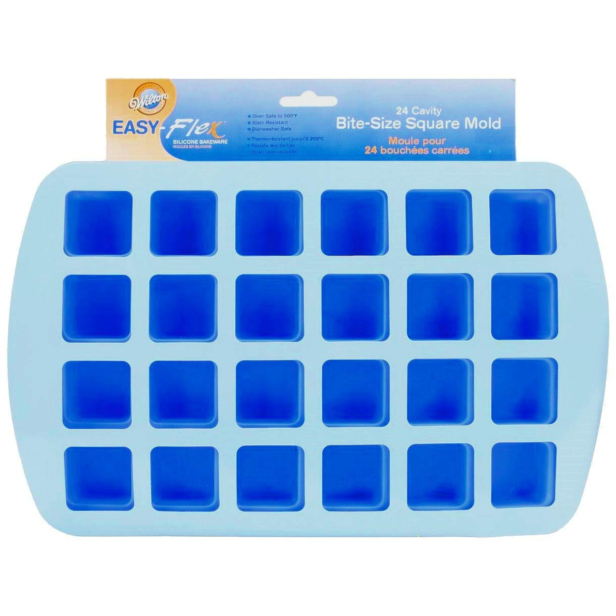 Wilton 2105-4923 24-Cavity Silicone Brownie Squares Baking Mold (Set of 2) [Colors May Vary]