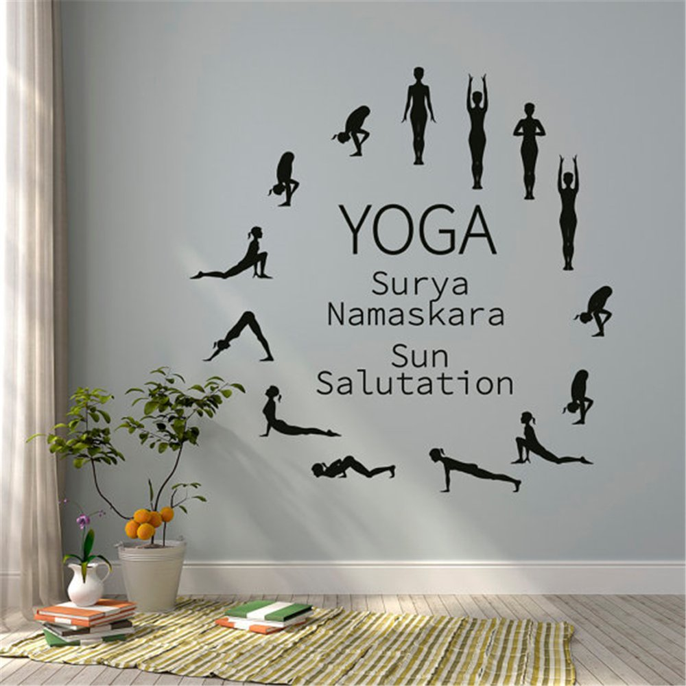 Sun salutation yoga wall decal yoga studio surya namaskara yoga studio decor yoga wall arthome décor inspirational wall decal church wall decal