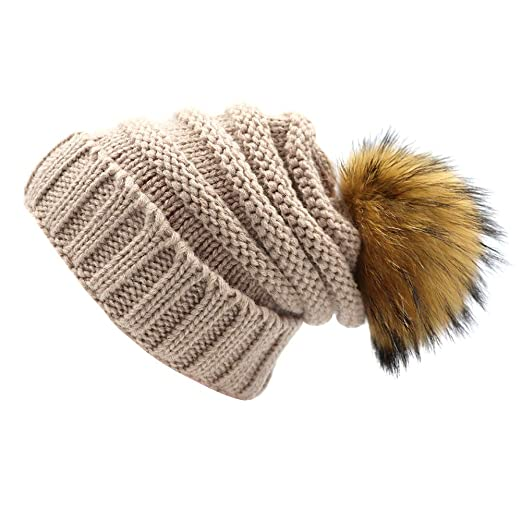 Kids Knit Slouchy Beanie Hats Chunky Stretchy Winter Bobble Hat Knitted  Raccoon Faux Fur Ball Pom a9c4a59d10c