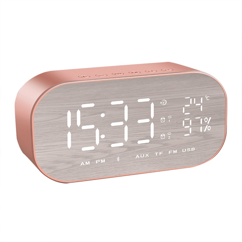 WINOMO Bluetooth Speaker Alarm Clock Radio Wireless Subwoofer Creative Large Mirror Screen Display of Temperature Bedside Alarm Sound Box for Bedroom(Rose Gold)
