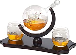 Etched Globe Whiskey Decanter Set + 2 Whisky Glasses on Rich Wood Classic Mahogany Base Tray - Gift Packaging - Antique Ship Whiskey Dispenser for Liquor Scotch Bourbon Vodka 850ML