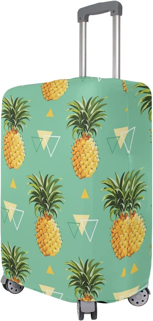 OREZI Luggage Protector Pineapple Light Blue Travel Luggage Elastic Cover Suitcase Washable and Durable Anti-Scratch Stretchy Case Cover Fits 18-32 Inches