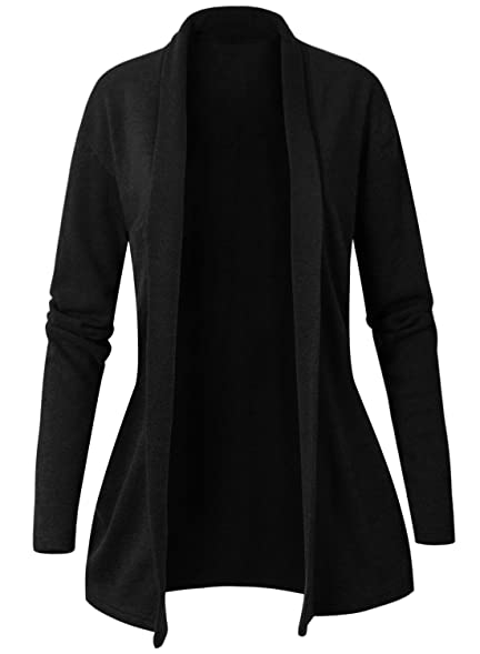 ililily Women Casual Open Front Knit Shawl Cardigan Long Drape ...
