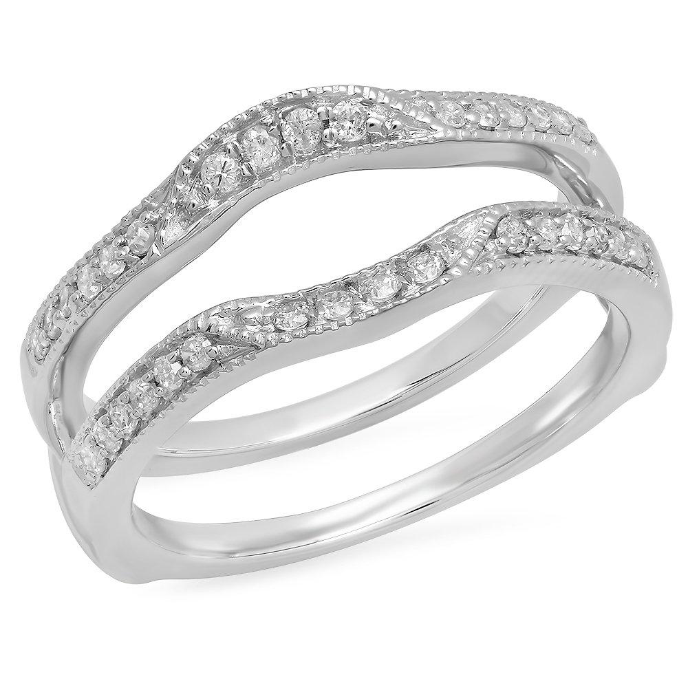 0.25 Carat (ctw) 14K White Gold Round Diamond Ladies Millgrain Anniversary Wedding Band Enhancer Double Guard Ring 1/4 CT (Size 5)