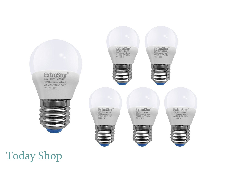 [6 Pack] Bombilla LED E27, 6 W a 48 W, luz natural, 4200 K, 480 lm, casquillo grande, 6 unidades [Clase de eficiencia energética A +]: Amazon.es: ...
