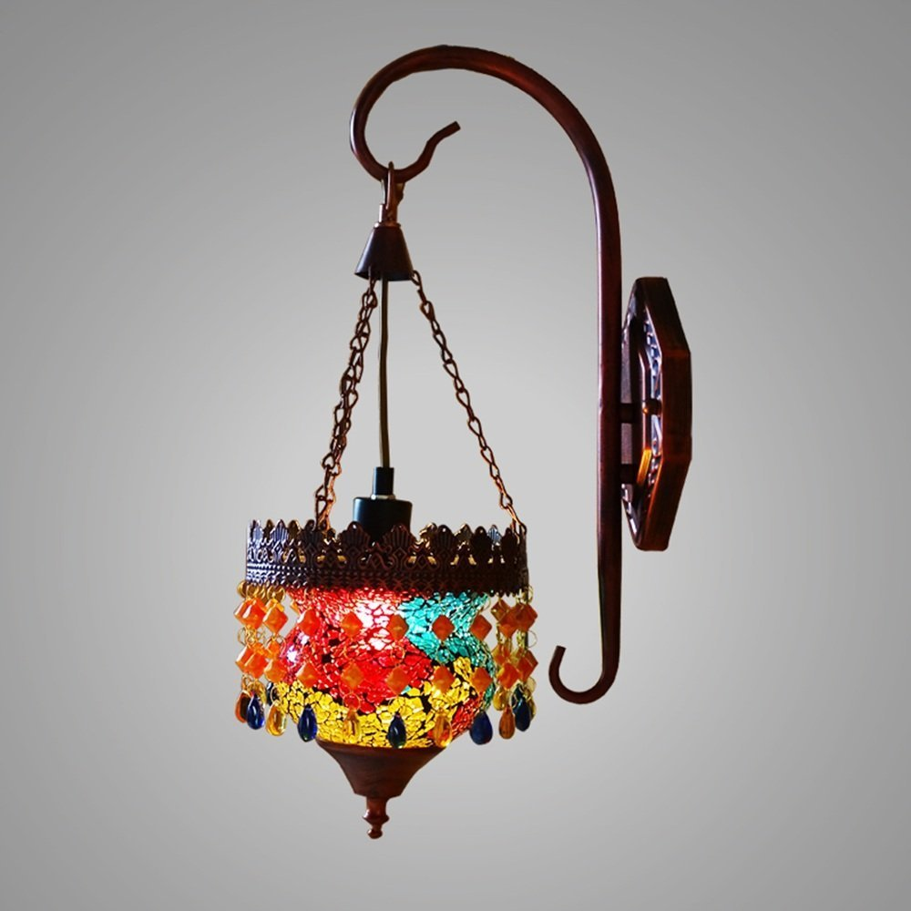 HOMEE Wall lamp- southeast asia thai - style stained glass single - head iron wall lamp bedside mirror front wall lamp --wall lighting decorations by HOMEE