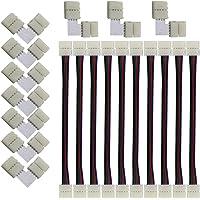 CESFONJER LED Strip connector, (10+10 stuks) voor 10mm 4-polige RGB 5050 LED Stripe connector, LED-strip flexibele…