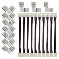 KINYOOO 10 PCS connecteurs de bande LED 5050 RGB en forme 10 mm, 10 PCS L Raccord d'angle de Raccord Rapide LED, Ce kit est facile à installer et facile à appliquer.