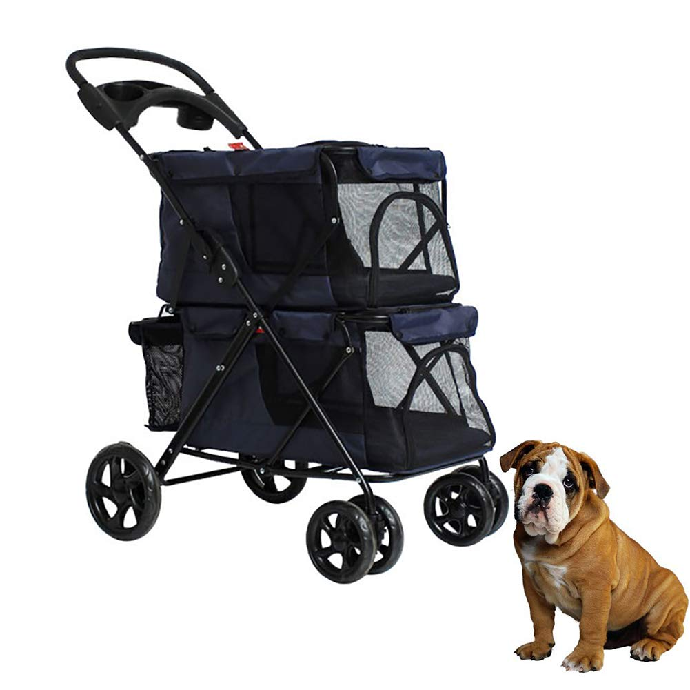 Pet Stroller Lightweight Folding Double Easy to Carry Sunscreen Breathable Comfort Pet Stroller Dog Big Space Trolley Cage Four Round Outdoor Travel,bluee