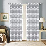 "Furnishland 54""x63"" Set of 2 Light Grey Faux Linen Sheer Striped Grommet Window Curtain Panels"