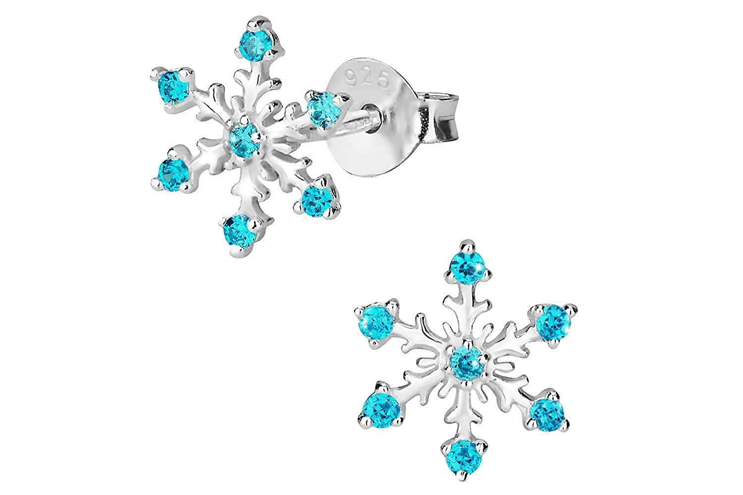 Hypoallergenic Sterling Silver Aqua CZ Simulated Diamond Snowflake Earrings for Kids Penny & Piper UK_B017QJYWJW