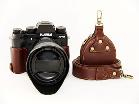 Bottom Opening Version Protective Genuine Real Leather Half Camera Case Bag Cover with Tripod Design for FUJIFILM Fuji X Series X T10 Dark Brown