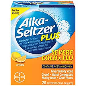 Alka-Seltzer Plus Severe Cold & Flu Effervescent, Citrus, 20 Count