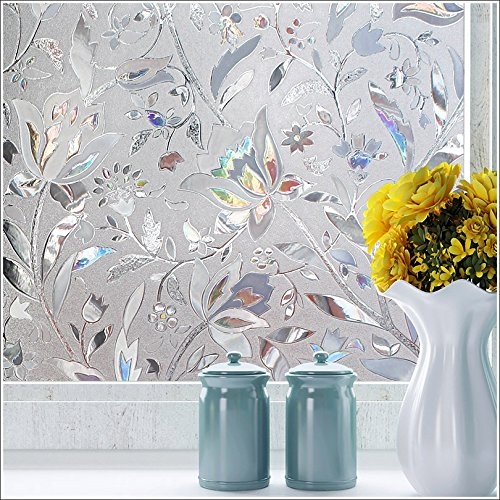 Frosted Window Film Door Covering for Privacy Clings Blossom Flower Glass Mirror Covering Sidelight Film Static Cling Tints Heat Control Peel and Stick Sticker for Home 17.7In By 78.7In (45 x 200CM) (Curtain Flower Door)